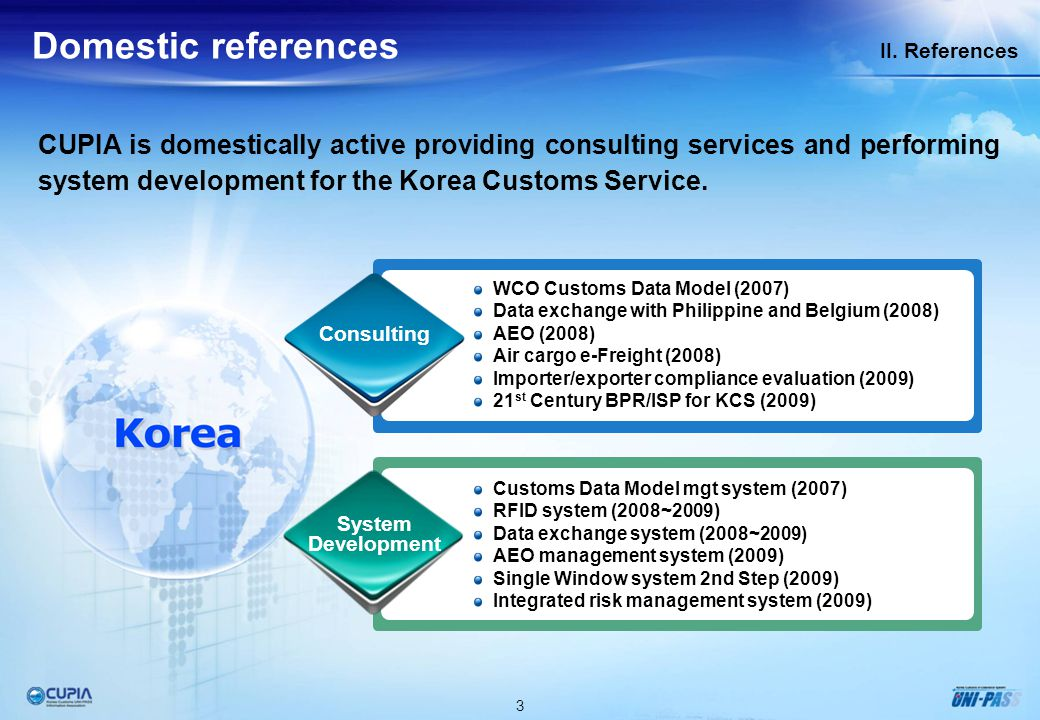 3 II. References Domestic references CUPIA is domestically active providing consulting services and performing system development for the Korea Custom