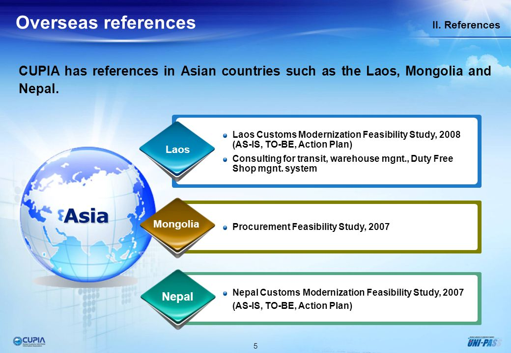 5 II. References Overseas references CUPIA has references in Asian countries such as the Laos, Mongolia and Nepal. Procurement Feasibility Study, 2007
