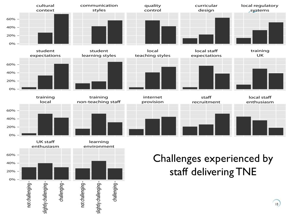 18 Challenges experienced by staff delivering TNE