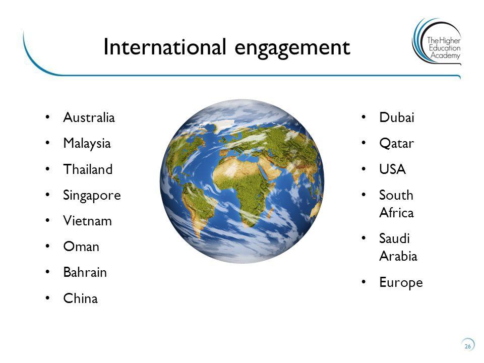 Australia Malaysia Thailand Singapore Vietnam Oman Bahrain China Dubai Qatar USA South Africa Saudi Arabia Europe 26 International engagement
