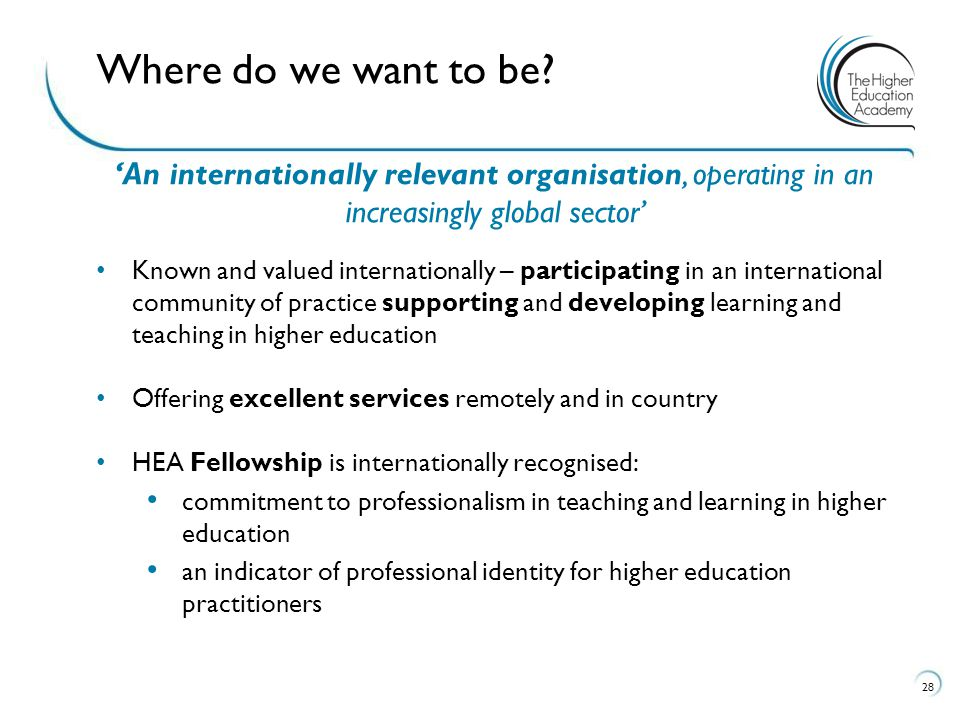 'An internationally relevant organisation, operating in an increasingly global sector' Known and valued internationally – participating in an internat