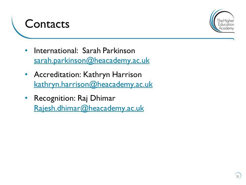 International: Sarah Parkinson sarah.parkinson@heacademy.ac.uk sarah.parkinson@heacademy.ac.uk Accreditation: Kathryn Harrison kathryn.harrison@heacademy.ac.uk kathryn.harrison@heacademy.ac.uk Recognition: Raj Dhimar Rajesh.dhimar@heacademy.ac.uk Rajesh.dhimar@heacademy.ac.uk 31 Contacts