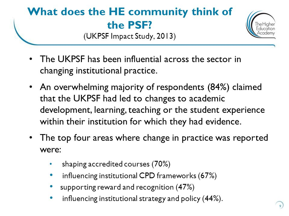 The UKPSF has been influential across the sector in changing institutional practice. An overwhelming majority of respondents (84%) claimed that the UK