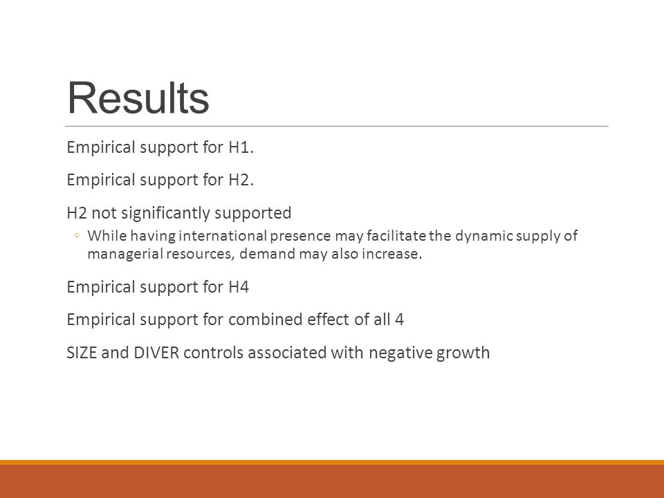 Results Empirical support for H1. Empirical support for H2.