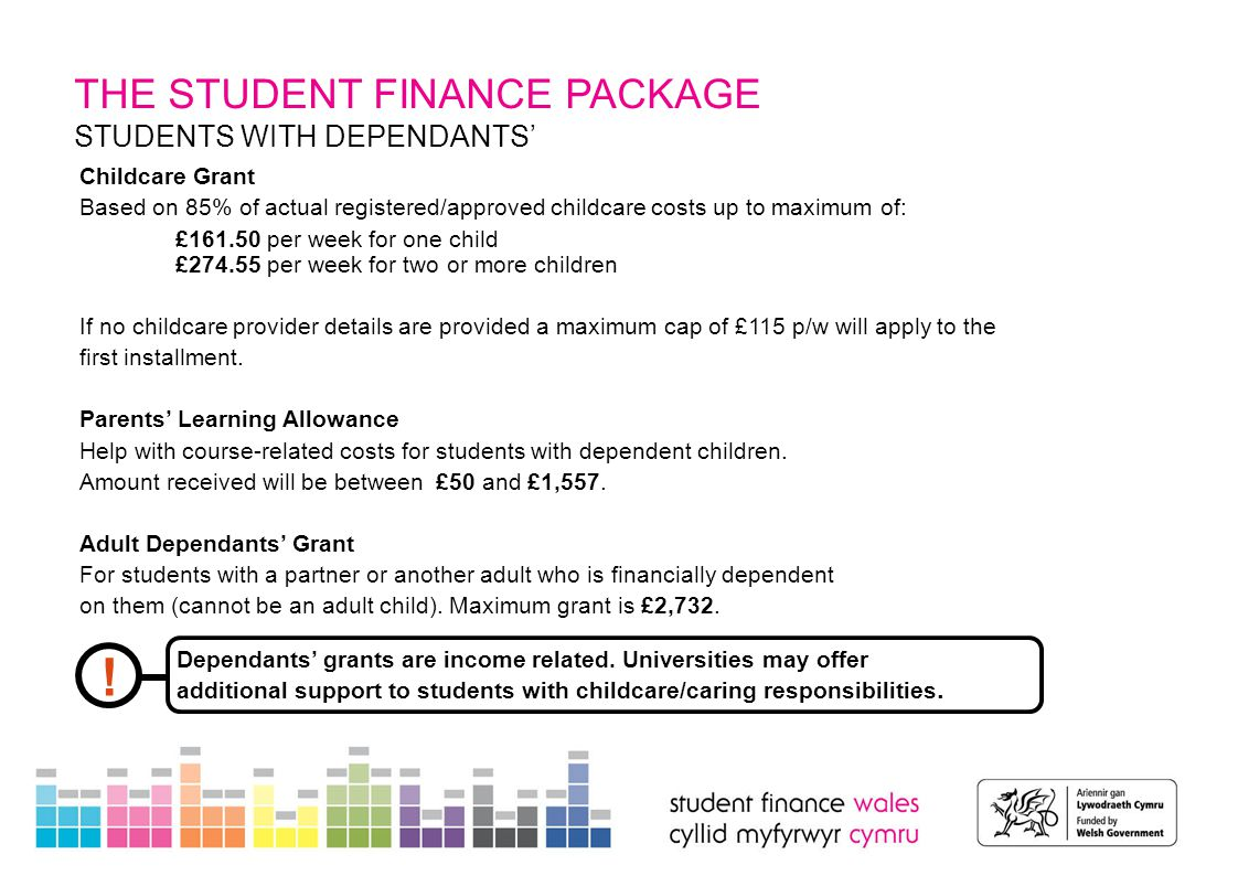 THE STUDENT FINANCE PACKAGE STUDENTS WITH DEPENDANTS' Childcare Grant Based on 85% of actual registered/approved childcare costs up to maximum of: £161.50 per week for one child £274.55 per week for two or more children If no childcare provider details are provided a maximum cap of £115 p/w will apply to the first installment.