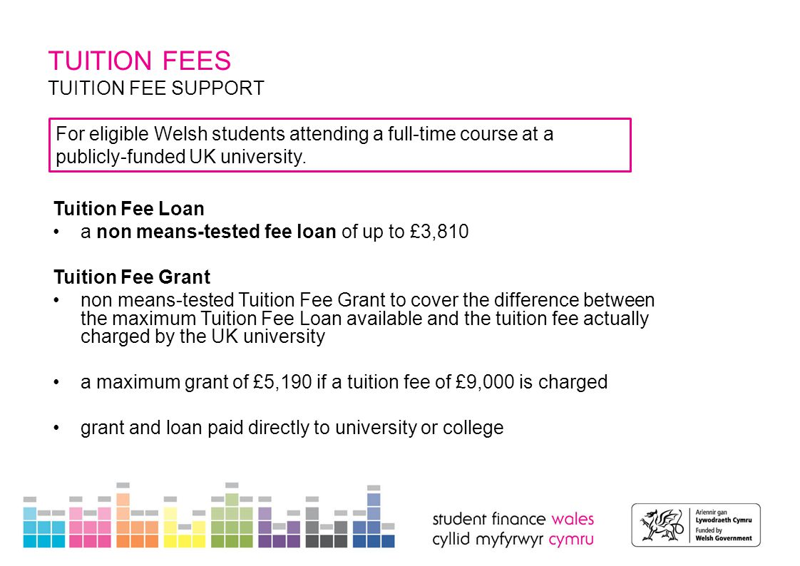 TUITION FEES TUITION FEE SUPPORT Tuition Fee Loan a non means-tested fee loan of up to £3,810 Tuition Fee Grant non means-tested Tuition Fee Grant to cover the difference between the maximum Tuition Fee Loan available and the tuition fee actually charged by the UK university a maximum grant of £5,190 if a tuition fee of £9,000 is charged grant and loan paid directly to university or college For eligible Welsh students attending a full-time course at a publicly-funded UK university.