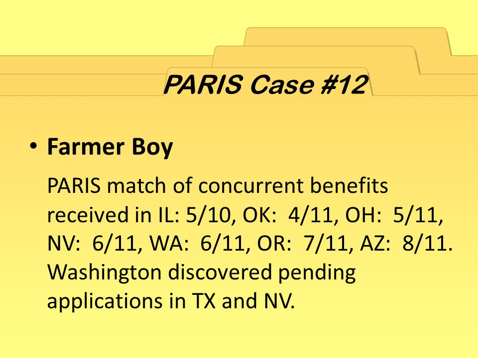 Farmer Boy PARIS match of concurrent benefits received in IL: 5/10, OK: 4/11, OH: 5/11, NV: 6/11, WA: 6/11, OR: 7/11, AZ: 8/11.