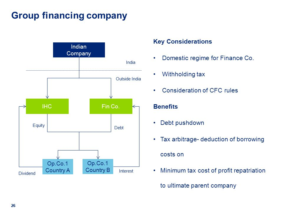 Group financing company 26 Key Considerations Domestic regime for Finance Co.