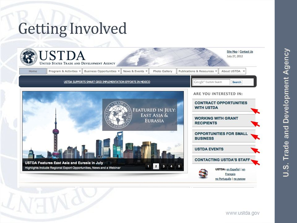 www.ustda.gov Getting Involved