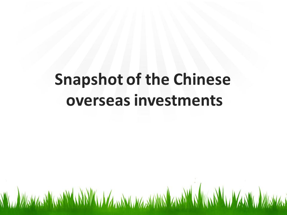Overall picture -In 2012, China's non-financial overseas direct investment (ODI) reached to US$77.2 billion, a growth of 12.6% over the previous year.
