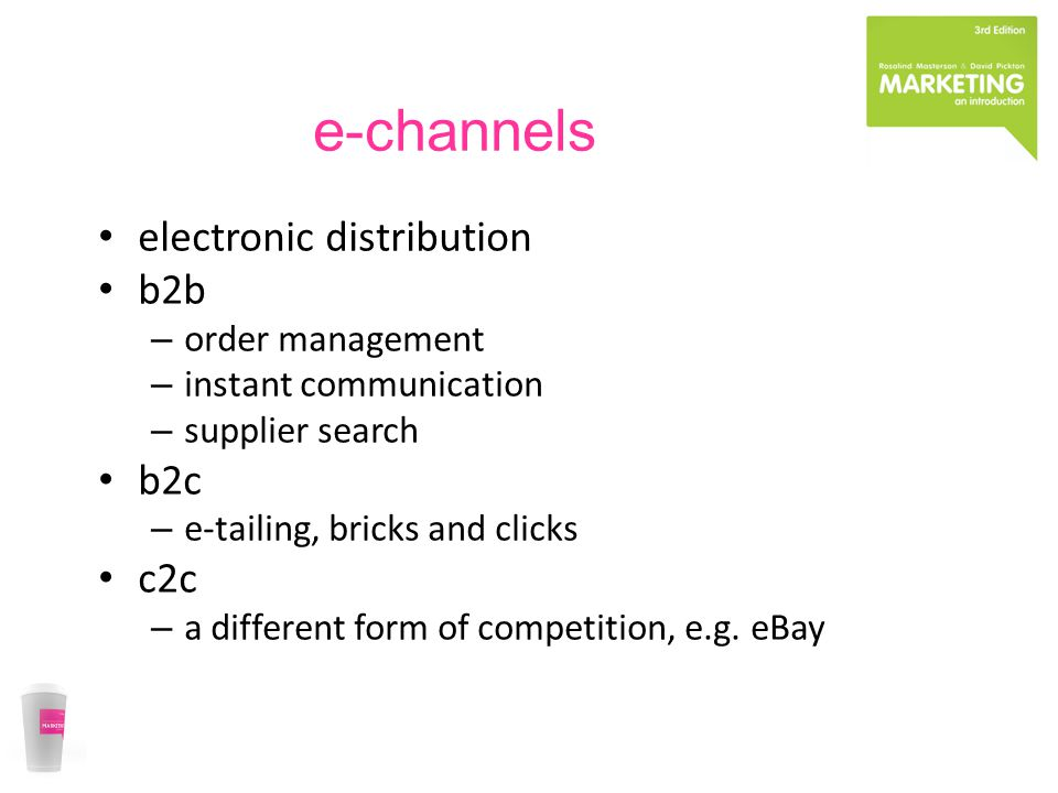 e-channels electronic distribution b2b – order management – instant communication – supplier search b2c – e-tailing, bricks and clicks c2c – a different form of competition, e.g.