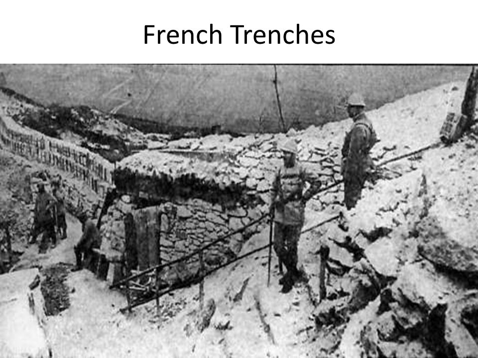 War on the Western Front A. Trench warfare: type of warfare used during WWI 1. machine guns 2. defensive war 3. stationary war: No movement a. front l