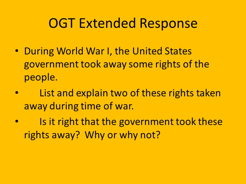 OGT Multiple Choice _____(2005 Practice Test) Charles Schenck was found guilty of violating the 1917 Espionage Act by distributing leaflets through th