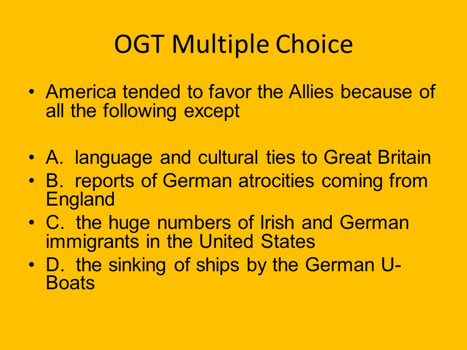 OGT Multiple Choice (Practice Test Booklet, 2005) Which of the following is not an example of propaganda? A. A gov. poster to get people to enlist in