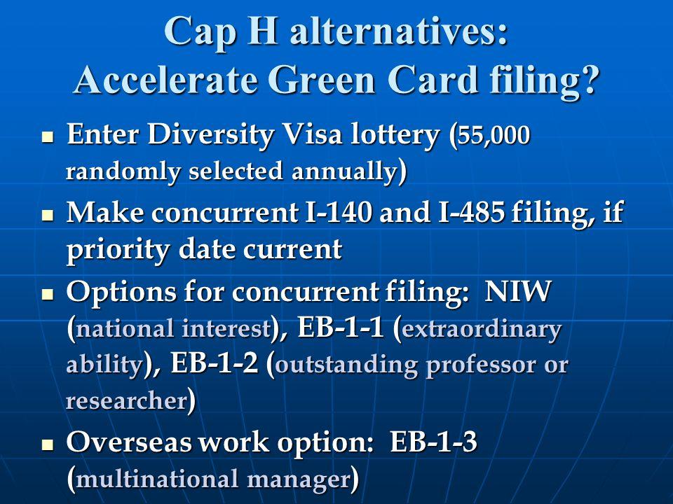 Cap H alternatives: Accelerate Green Card filing.
