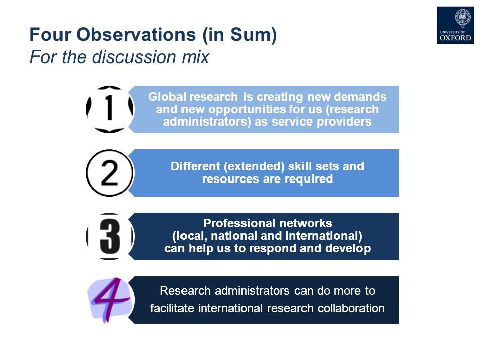Four Observations (in Sum) For the discussion mix Global research is creating new demands and new opportunities for us (research administrators) as se