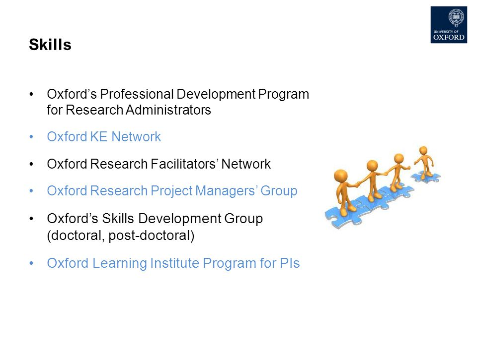 Skills Oxford's Professional Development Program for Research Administrators Oxford KE Network Oxford Research Facilitators' Network Oxford Research P