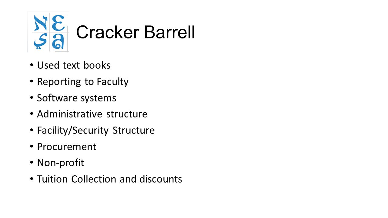Cracker Barrell Used text books Reporting to Faculty Software systems Administrative structure Facility/Security Structure Procurement Non-profit Tuit