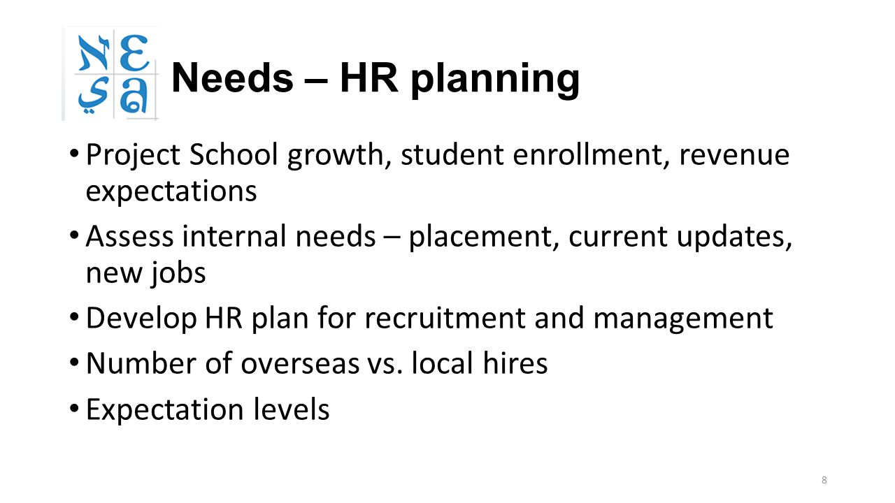 8 Needs – HR planning Project School growth, student enrollment, revenue expectations Assess internal needs – placement, current updates, new jobs Develop HR plan for recruitment and management Number of overseas vs.