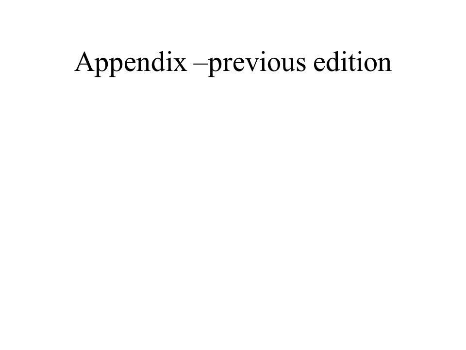 Appendix –previous edition