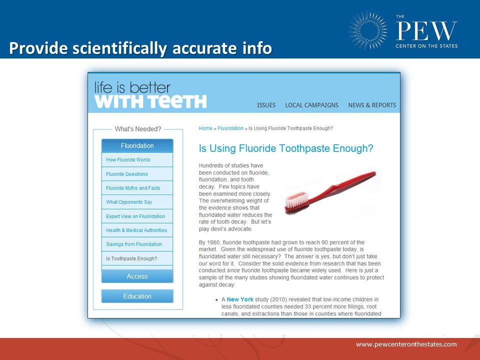 www.pewcenteronthestates.com Provide scientifically accurate info