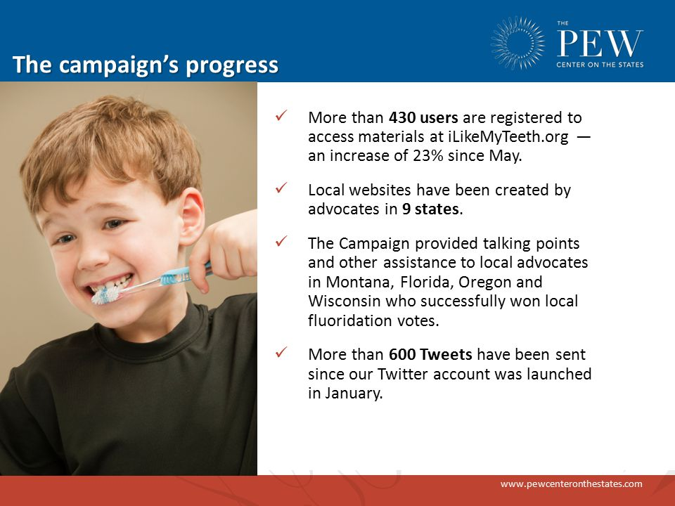 www.pewcenteronthestates.com The campaign's progress More than 430 users are registered to access materials at iLikeMyTeeth.org — an increase of 23% since May.