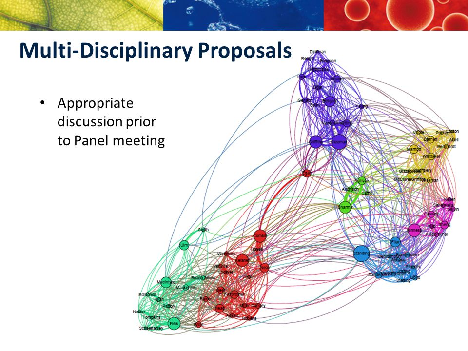 Multi-Disciplinary Proposals Appropriate discussion prior to Panel meeting