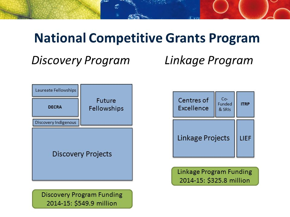 Discovery Program Laureate Fellowships Future Fellowships DECRA Discovery Projects Linkage Program Centres of Excellence Co- Funded & SRIs Linkage Pro