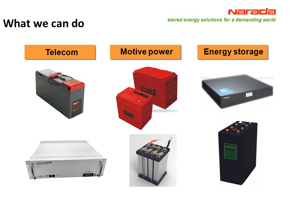 stored energy solutions for a demanding world Strategy of Narada 5 To be globally leading total solution provider for Telecom backup power, energy storage power, motive power and new energy resource application field.