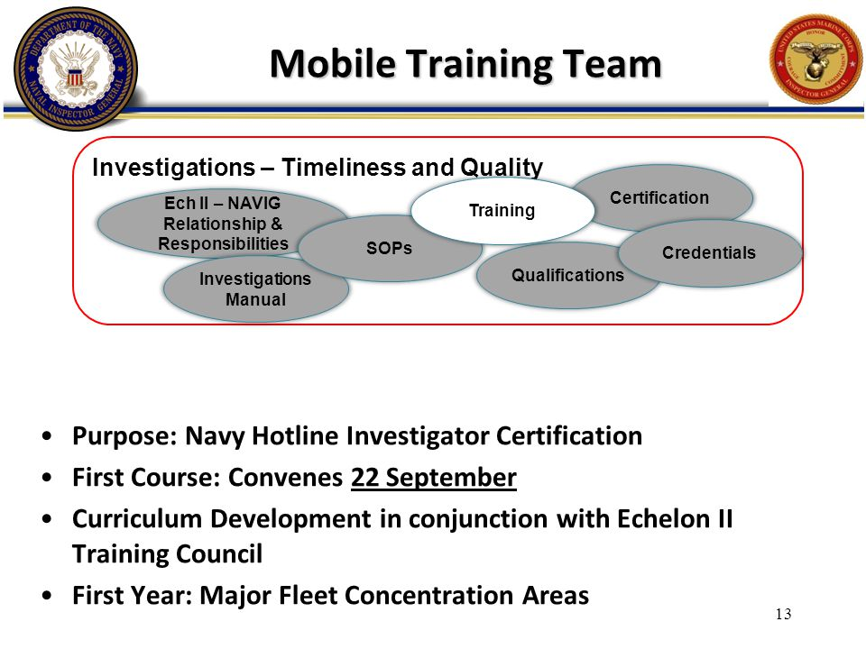 Mobile Training Team Purpose: Navy Hotline Investigator Certification First Course: Convenes 22 September Curriculum Development in conjunction with E