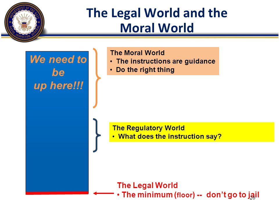 The Legal World and the Moral World The Legal World The minimum ( floor ) -- don't go to jail The Regulatory World What does the instruction say.