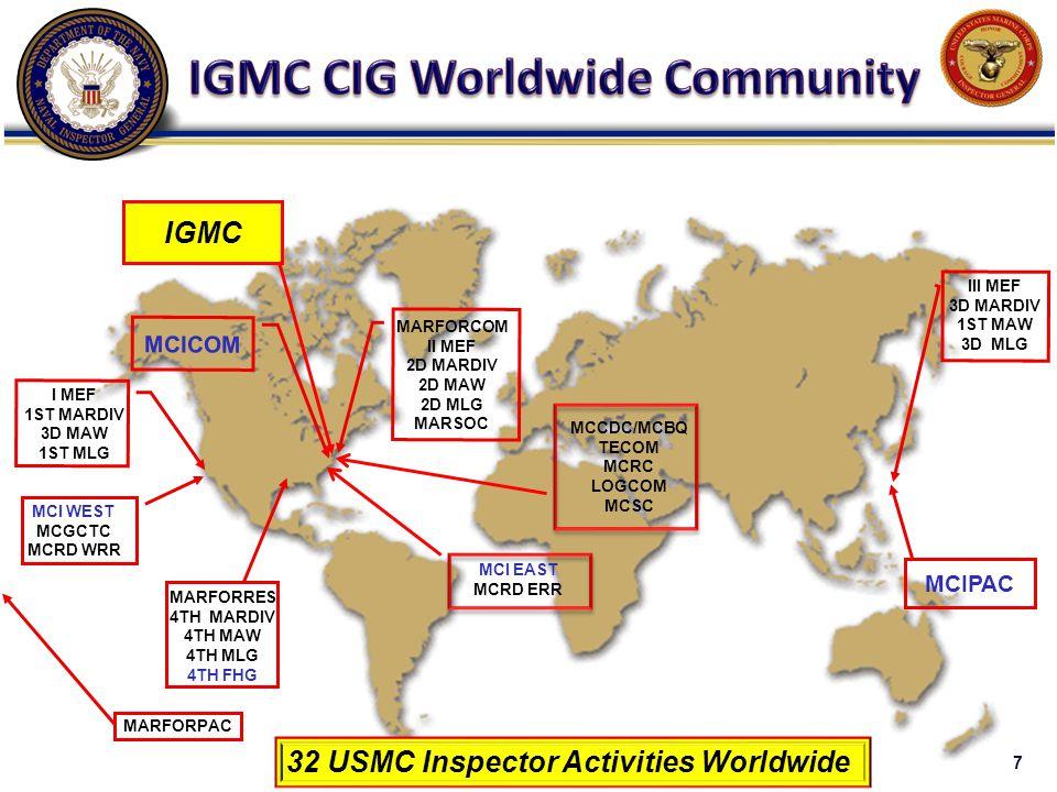 I MEF 1ST MARDIV 3D MAW 1ST MLG MARFORRES 4TH MARDIV 4TH MAW 4TH MLG 4TH FHG III MEF 3D MARDIV 1ST MAW 3D MLG MARFORCOM II MEF 2D MARDIV 2D MAW 2D MLG MARSOC MCI EAST MCRD ERR MCIPAC MARFORPAC MCI WEST MCGCTC MCRD WRR MCCDC/MCBQ TECOM MCRC LOGCOM MCSC MCICOM 32 USMC Inspector Activities Worldwide IGMC 7