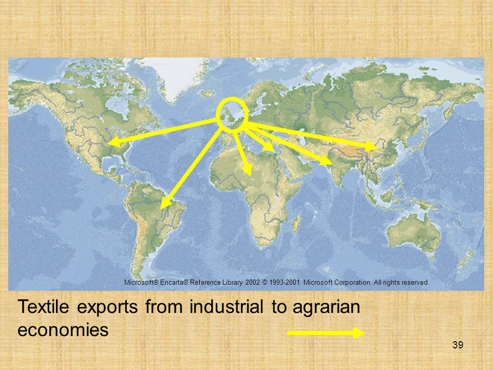 39 Textile exports from industrial to agrarian economies Microsoft® Encarta® Reference Library 2002 © 1993-2001 Microsoft Corporation. All rights rese