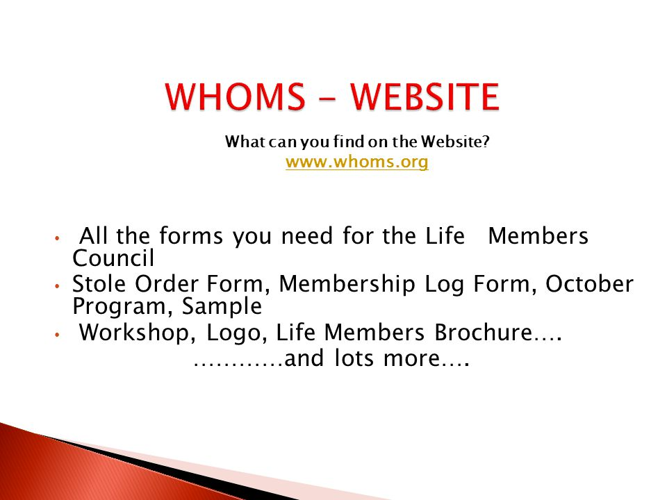 WHOMS - WEBSITE What can you find on the Website.