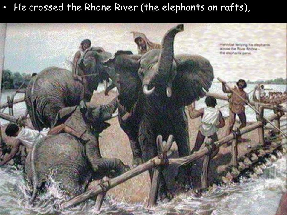 He crossed the Rhone River (the elephants on rafts),