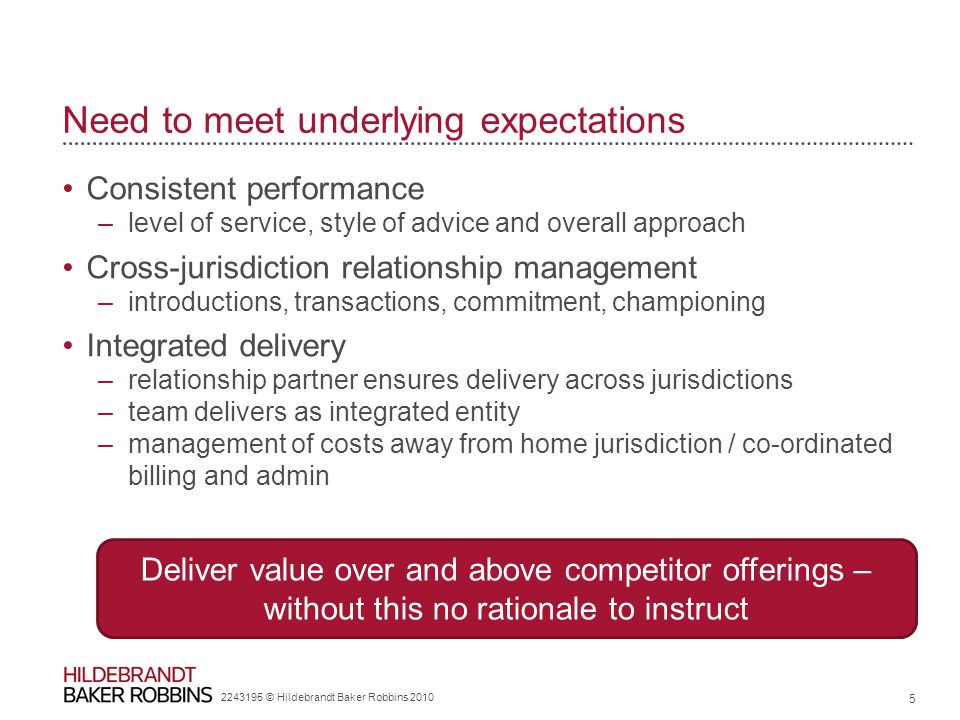 Need to meet underlying expectations Consistent performance –level of service, style of advice and overall approach Cross-jurisdiction relationship management –introductions, transactions, commitment, championing Integrated delivery –relationship partner ensures delivery across jurisdictions –team delivers as integrated entity –management of costs away from home jurisdiction / co-ordinated billing and admin 2243195 © Hildebrandt Baker Robbins 2010 5 Deliver value over and above competitor offerings – without this no rationale to instruct