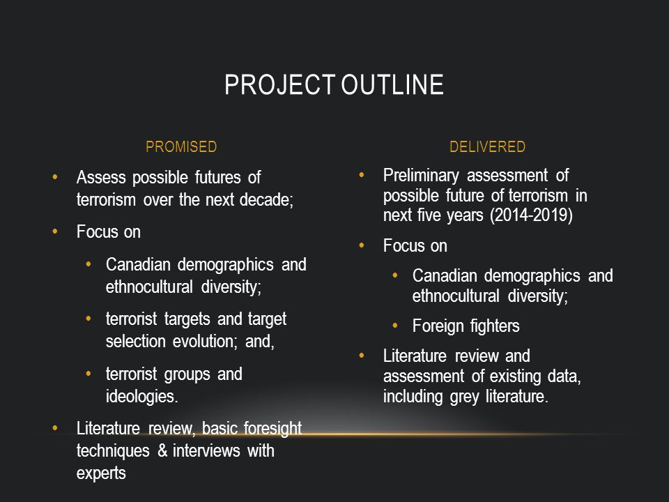 Preliminary assessment of possible future of terrorism in next five years (2014-2019) Focus on Canadian demographics and ethnocultural diversity; Foreign fighters Literature review and assessment of existing data, including grey literature.