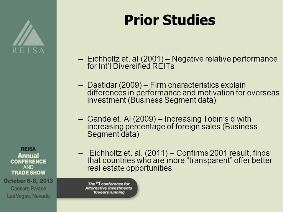 Prior Studies –Eichholtz et. al (2001) – Negative relative performance for Int'l Diversified REITs –Dastidar (2009) – Firm characteristics explain dif