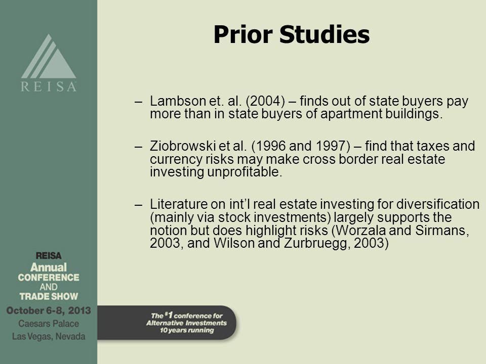 Prior Studies –Lambson et. al.