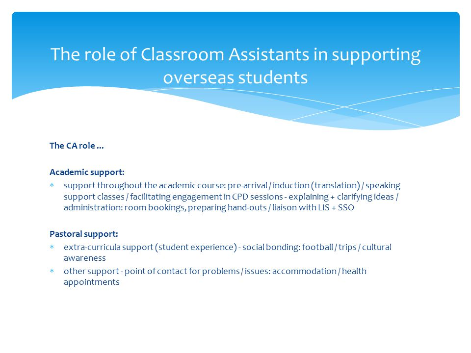 The CA role... Academic support:  support throughout the academic course: pre-arrival / induction (translation) / speaking support classes / facilita