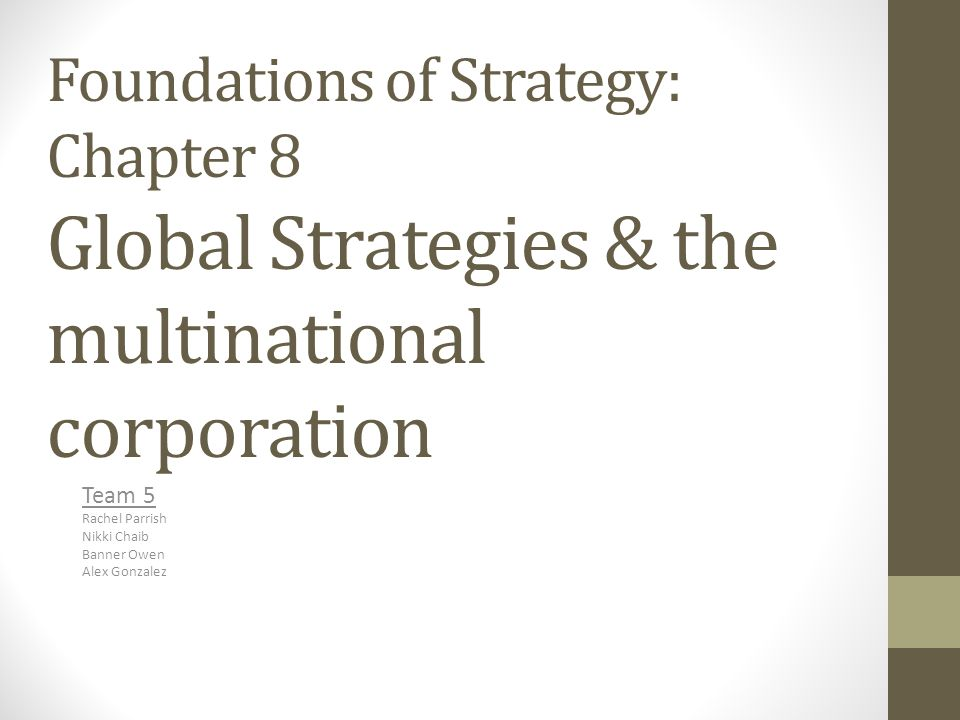Foundations of Strategy: Chapter 8 Global Strategies & the multinational corporation Team 5 Rachel Parrish Nikki Chaib Banner Owen Alex Gonzalez