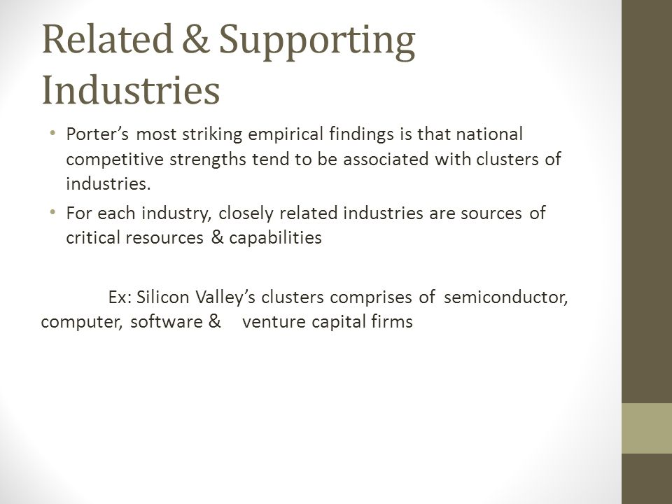 Related & Supporting Industries Porter's most striking empirical findings is that national competitive strengths tend to be associated with clusters o