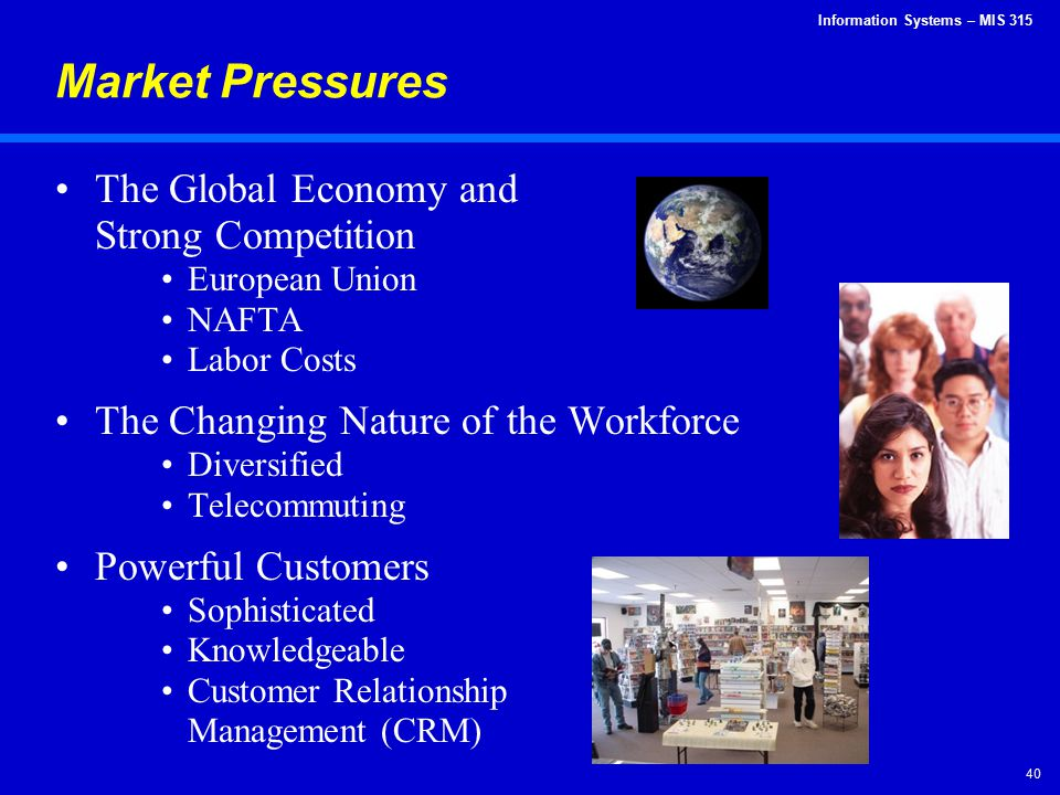Information Systems – MIS 315 40 Market Pressures The Global Economy and Strong Competition European Union NAFTA Labor Costs The Changing Nature of th