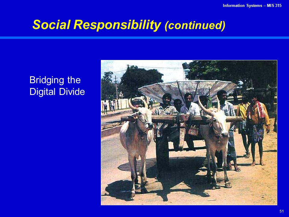 Information Systems – MIS 315 51 Social Responsibility (continued) Bridging the Digital Divide