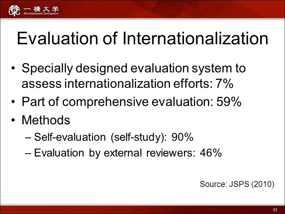 Evaluation of Internationalization Specially designed evaluation system to assess internationalization efforts: 7% Part of comprehensive evaluation: 5