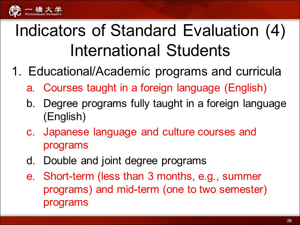 Indicators of Standard Evaluation (4) International Students 1.Educational/Academic programs and curricula a.Courses taught in a foreign language (Eng