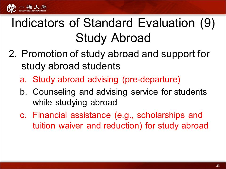 Indicators of Standard Evaluation (9) Study Abroad 2.Promotion of study abroad and support for study abroad students a.Study abroad advising (pre-depa