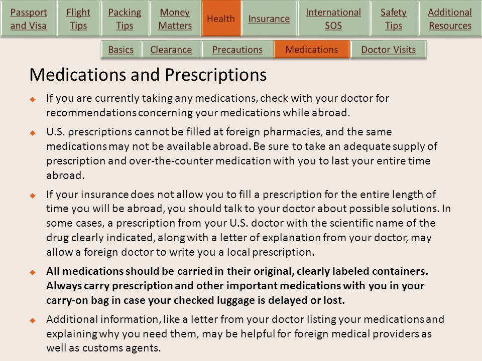 Medications and Prescriptions  If you are currently taking any medications, check with your doctor for recommendations concerning your medications wh