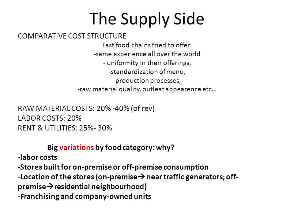 The Supply Side COMPARATIVE COST STRUCTURE Fast food chains tried to offer: -same experience all over the world - uniformity in their offerings, -standardization of menu, -production processes, -raw material quality, outleat appearence etc… RAW MATERIAL COSTS: 20% -40% (of rev) LABOR COSTS: 20% RENT & UTILITIES: 25%- 30% Big variations by food category: why.