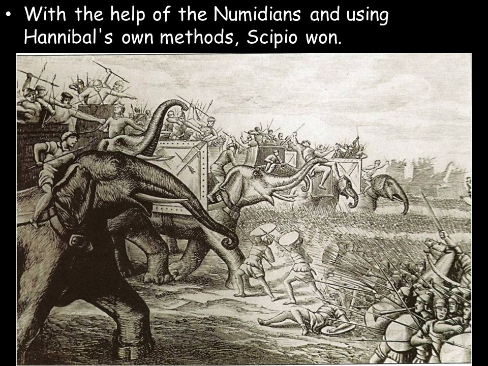 With the help of the Numidians and using Hannibal's own methods, Scipio won.